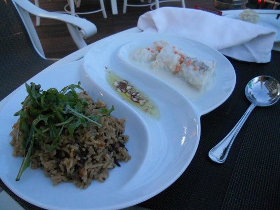 La Castile Restaurant : Monkfish adapted to my husband's liking with wild rice