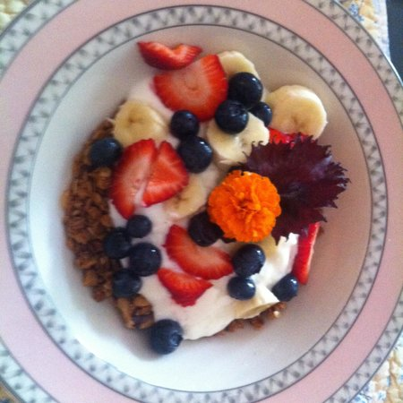 Nauset House Inn: Homemade granola garnished with garden flowers