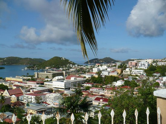Villa Santana: Frenchtown in the distance from pool deck