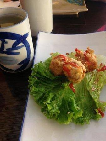Matsu Sushi : Mom's Hand Rolls, a mushroom and spicy tuna, deep fried.