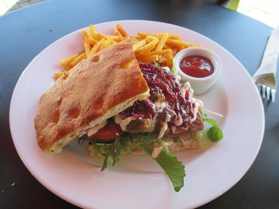 Sierra Cafe - Devonport: Open Face Steak Sandwich with Fries
