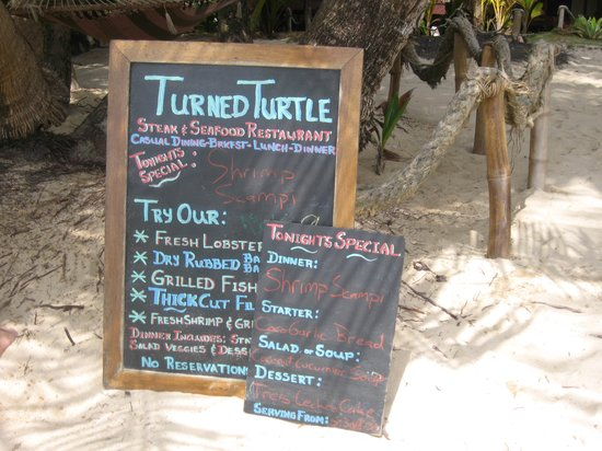 The Turned Turtle Restaurant at Little Corn Beach and Bungalow: menu board