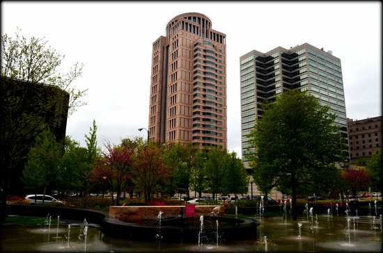 view of the city buildings from the City Garden