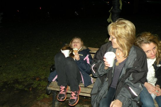 St. Charles Historic District: Having hot chocolate and kettle corn on Historic St. Charles Main Street