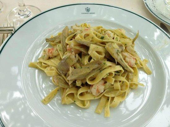 Locanda Cipriani : Pasta, gambas & artichokes