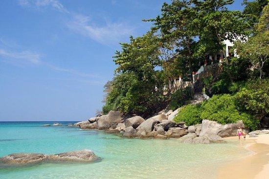 Kata Noi Beach: The North end of Kata Noi and Mom Tri's Villa Royale hotel and Mom Tri's Kitchen restaurant