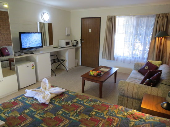 Colonial Motor Inn: Motel room with large screen TV and the modern facilities you need