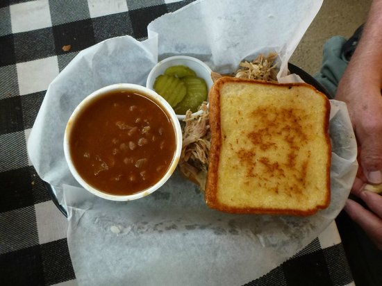 OUTBAK BBQ Shack: Smokey baked beans and pulle pork sandwich on Texas Toast