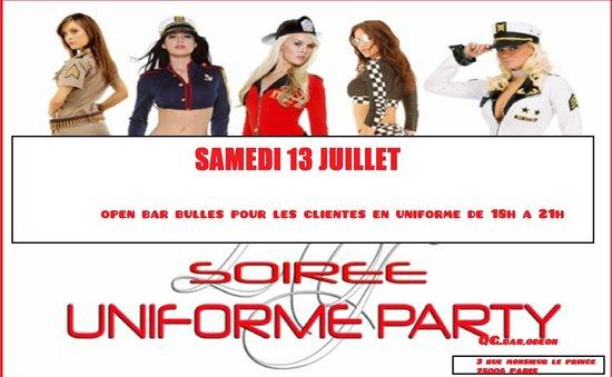 QG.BAR.Odeon : samedi 13 juillet UNIFORME PARTY