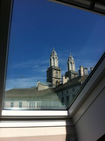 Altstadt Hotel: View of Grossmunster from Skylight in room