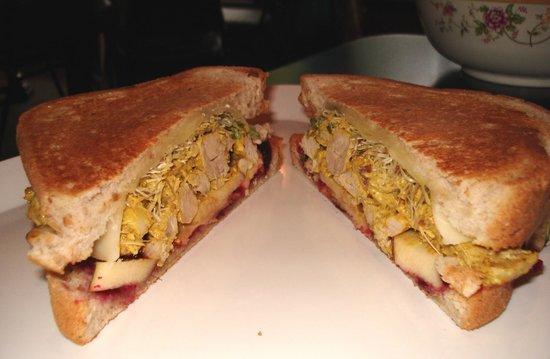 Pom Poms Tea House: Curry Chicken Sandwich with Sprouts, Cranberry Chutney and Apples