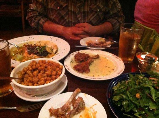 The Red Dove Tavern: Arugula Salad; Duck Wings; Scottish Salmon & Clams, escarole & white beans (4/12 menu on website