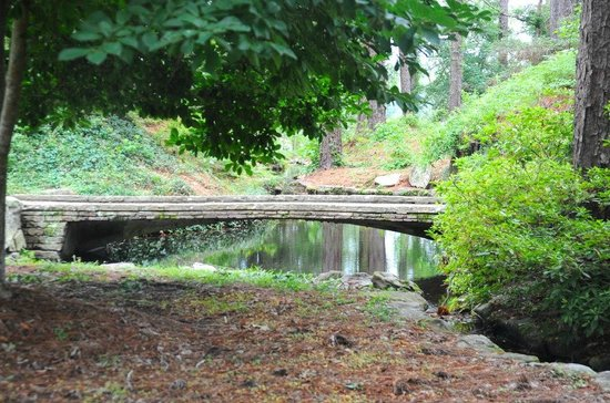 Hodges Gardens: Stone bridge on one of the paths.