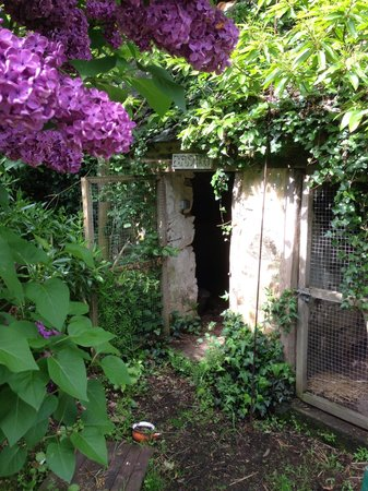 Manoir of Troezel Vras : A small shed on the grounds becomes a cozy, lilac-covered nook.
