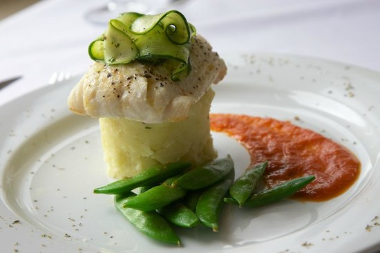 Fife Lodge Hotel: Baked Haddock on Potato Stack With Roasted Red Pepper Sauce