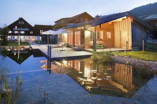 Almhof Laesser : Hotel, Liegewiese, Schwimmteich, Saunahaus