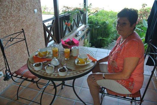 Villa les Bougainvilliers: Petit déjeuner sous le carbet
