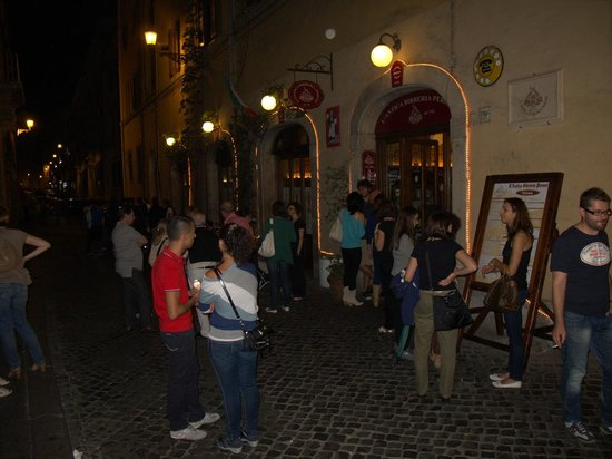 Peroni: Outside, the picture is taken around 11pm. There are always people lining up to get in (after 7