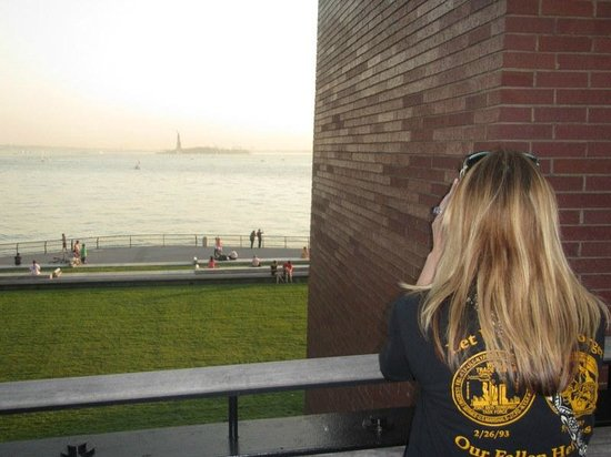 Battery Park: Taking a photo of the Statue of Liberty.