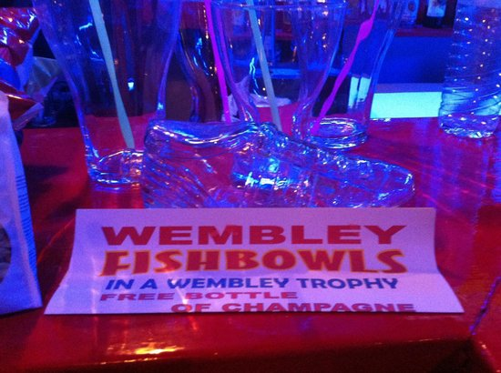 Wembley Bar Kavos: Fishbowl in the famous glass footy shoe