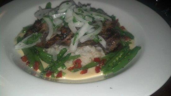 Randevu : tequila lime duck breast w/ jasmine rice & sweet peas