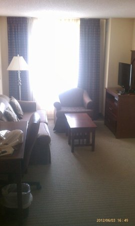 Staybridge Suites Chesapeake: Sitting area. Computer desk. Couch. Lounge chair. Table. TV with cable and DVD