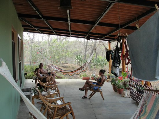 Rancho Cecilia Nicaragua: Morning coffee on the porch of the surf lodge