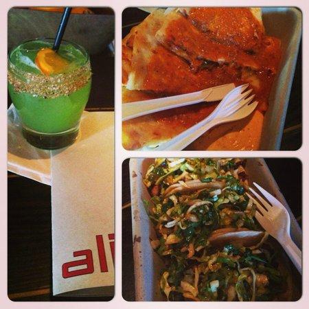 Alibi Room: Spiced Daisy Cocktail, Kimchi Sesame Quesadilla, and Tacos-1 chicken, 1 pork, & 1 short rib