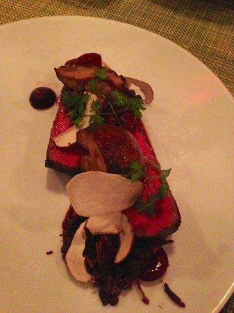 AQ: steak with porcini mushrooms, black lentils, balsamic