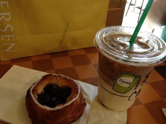 Andersen Kitchen Buffet: cherry pastry next to my Starbucks coffee... amazing!