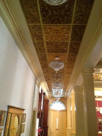 Marion, KS: Tin ceilings in the hallway.