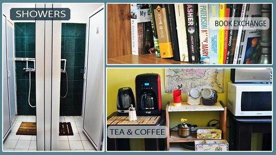 The Midland Hostel: Bathroom, book exchange & tea/coffee
