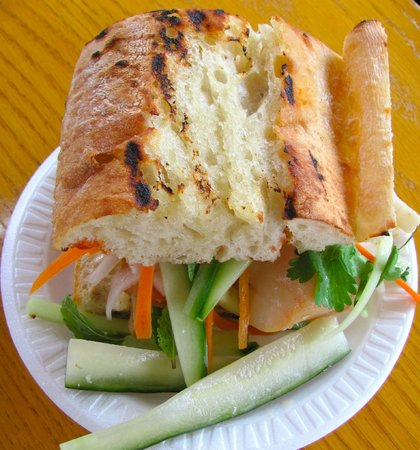 The Canteen's Cod Bánh Mì sandwich with house-made pickles