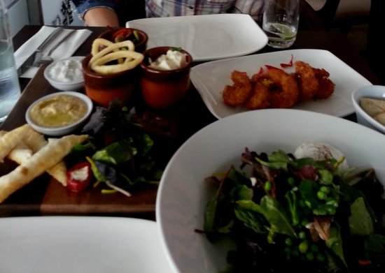 Loch & Quay : Mezze platter, coconut prawns and broad been salad with poached egg and goats cheese