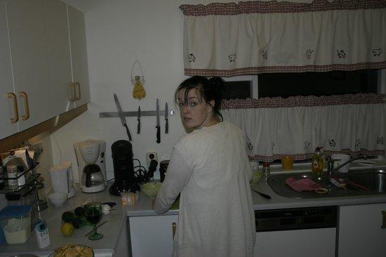 Teigur Guesthouse : Køkknet har en god størelse så man kan lave mad til alle 5