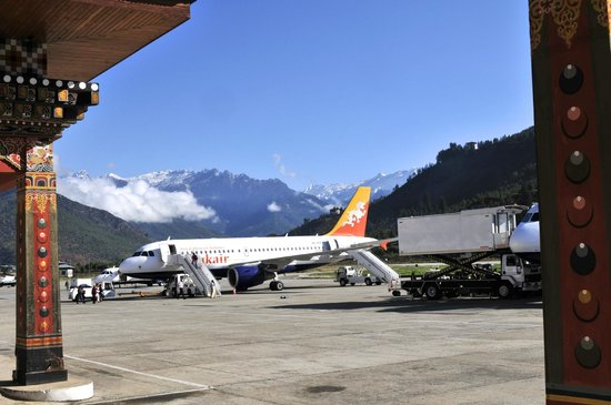 Mongar, Bhutan: Paro airport with Druk Air plane and surroundings