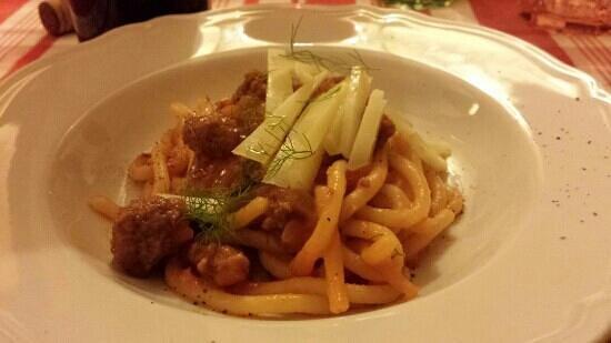 """La Casetta : """"Pici alla buttera"""" (amazing thick pasta) with sausage with wild fennel and pecorino cheese!"""