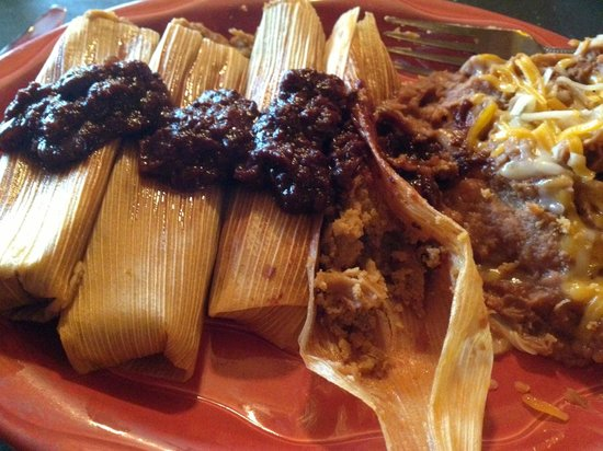Amigos mexican Cantina: Tamales, refried beans
