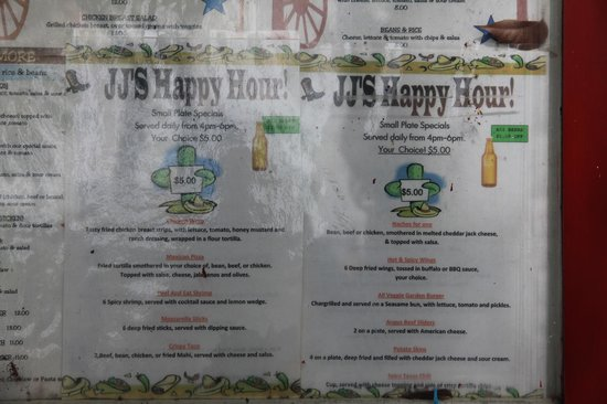 JJ's Texas Coast Cafe : JJ's Happy Hour Menu