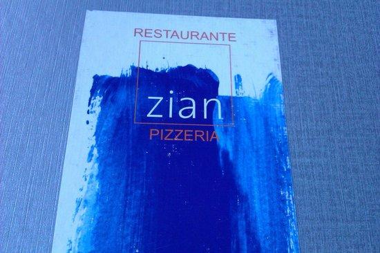 Zian Restaurant and Pizzeria : Quirky Zian Menu