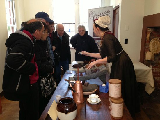 Captain Jackson's Historic Chocolate Shop: What spice do you think this is? Visitors try to identify 18th century chocolate ingredients.