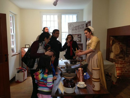 Captain Jackson's Historic Chocolate Shop: A chocolate interpreter explains 18th century chocolate before pouring samples.