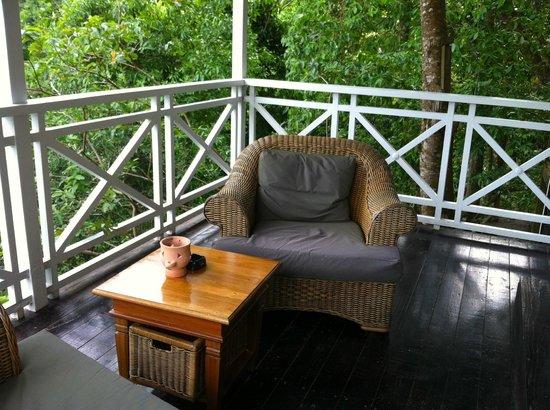 Fond Doux Plantation & Resort : Porch of our Hilltop Coconut Cottage