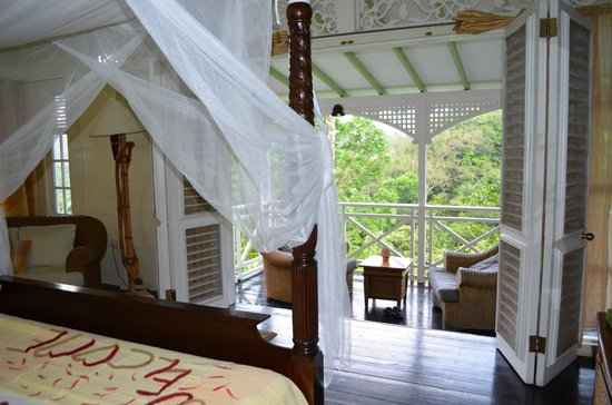 Fond Doux Plantation & Resort : from bed out onto Hilltop Coconut porch