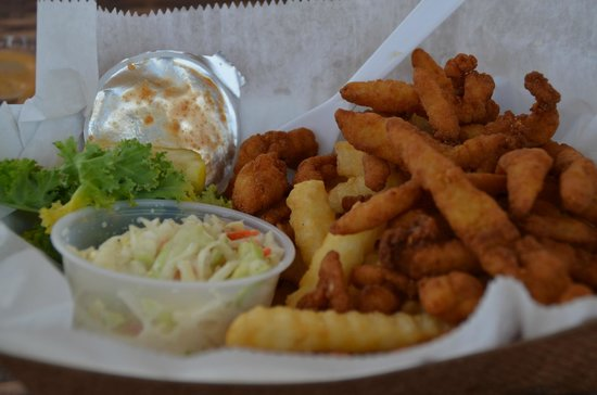 Gator Joe's: Fried Clam strips, french fries, with a side of slaw.