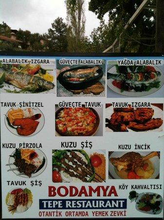 Bodamya Tepe Restaurant : rıch menu
