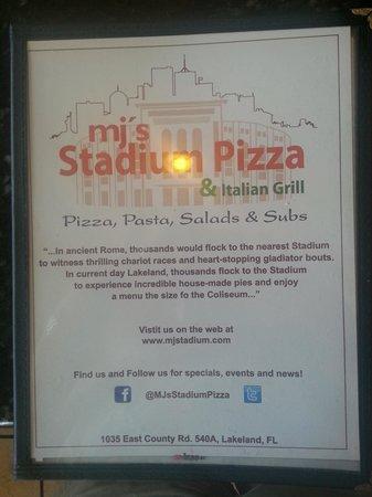 MJ's Stadium Pizza: Menu Cover