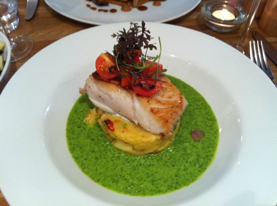 ... cod on a green Gazpacho and chilli and spring onion potatoes - divine