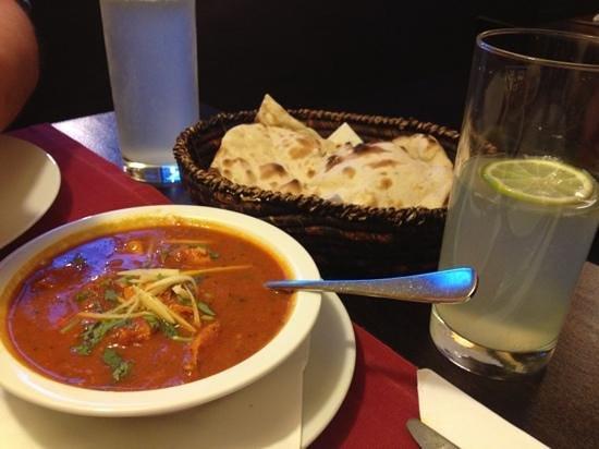 Himal Nepal Kitchen: chicken masala (ginger and paprika) and naan