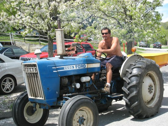Hopkins Vineyard: friendly guy on a tractor in the vineyards